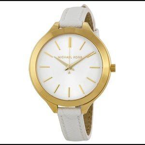 Michael Kors Slim Runway White Leather Watch